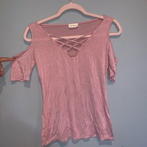 Pink Cut-Out Shoulder Tee